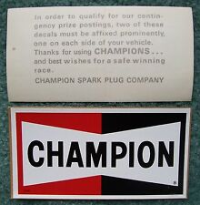 2 NOS CHAMPION Spark Plugs Decals/Stickers-Original Vintage 1960's-1970's Racing