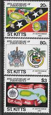 ST KITTS 1993 Independence CRICKET BAT BALL STUMPS MAP SHIP MUSIC Set 3v MNH
