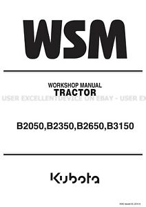 Kubota B2050 B2350 B2650 B3150 Tractors Printed Workshop Manual 9Y111-09820