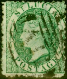 St Lucia 1863 (6d) Emerald Green SG8 Fine Used