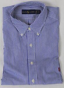 Ralph Lauren Blue Striped Classic Fit Dress Shirt Long Sleeve Red Pony NWT