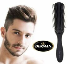 Black Styling Men Hair Brush Denman 7 Row Perfectly Smooth Round Ended Pins