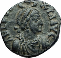 EUDOXIA Arcadius Wife 401AD Authentic Ancient Roman Coin VICTORY CHI-RHO i78749
