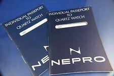 2 Vintage Nepro Quartz Digital LCD Watch Guarantee Warranty Booklet 1970s