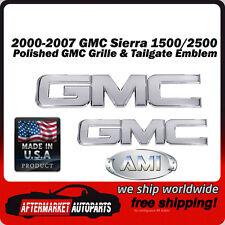 00-07 GMC Sierra 2500 Polished Billet GMC Grille & Tailgate Emblem AMI 96510P