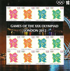 Grenada 2012 MNH London Olympics 12v M/S Games XXX Olympiad Emblem Logo