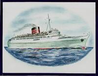 Original Art Work ... ss CARONIA...ocean liner/ cruise ship.. Cunard Line