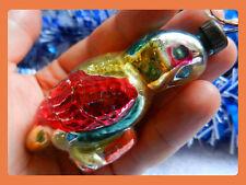 VTG Russian Soviet Christmas Glass xMas Ornament doll toy PARROT BIRD zoo old