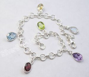 "925 Sterling Silver Cut-Gemstones COLORFUL BESTSELLER Link Chain Bracelet 7.9"""