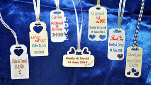 30 x Personalised Mini Wedding Favour Tags 7 Designs handmade cream or white