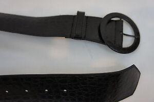 Unbranded Belt Sz 2 Black Detailed Textured Semi Wide Belt