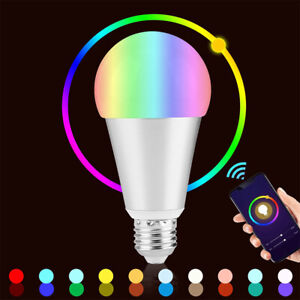 LED Wifi Smart Light Bulb 10W Dimmable RGBW Lamp E27 B22 For Alexa Google Home