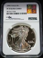 1998-P $1 1 oz. Proof American Silver Eagle NGC PF 70 UC Mercanti Warhol Reagan