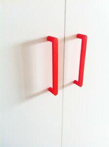 4X Möbelgriffe + 8X Schrauben, Schrankgriff IKEA Dombas kompatibel ROT RED
