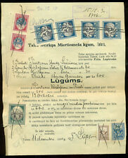 LATVIA COURT DOCUMENT TALSI 1930 WITH 10 COURT TAX FISCAL REVENUE STAMPS
