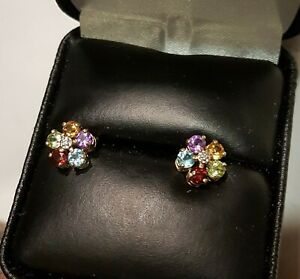 1.30 Ctw 18K Multi Gem Earrings Aquamarine, Garnet, Citrine Amethyst and Topaz