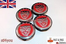 4 x Jaguar Red 59mm Alloy Hub Wheel Centre Caps ,Type XF XJ XJR XJ6 X S