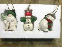Lenox Warmest Wishes Porcelain Ornaments Set of 3 Santa Snowman Bear Excellent