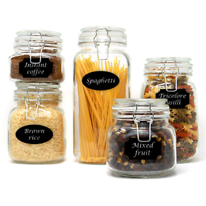 Set of 5 Clip Top Glass Storage Jars Airtight Vintage Kitchen Containers M&W