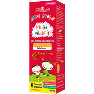 Natures Aid Children's Sugar Free Orange Flavour Multivitamin Drops - 50ml
