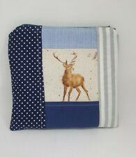 Make up bag Wrendale Deer fabric blue cosmetic bag Handmade gift