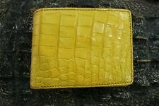 Yellow Double Sided Genuine Alligator Crocodile Skin Leather Men's Bifold Wallet