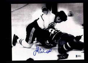 John Wensink Signed Bruins FIGHT 8x10 Photo BAS Auto Beckett COA LST1391