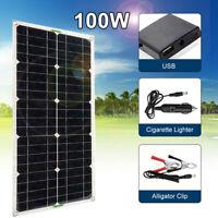 100W Solarmodul 12V Monokristallin Solarpanel Ladegerät USB Camping Wohnmobil