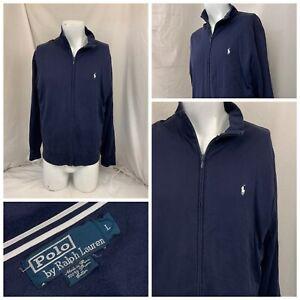Polo Ralph Lauren Track Jacket L Men Blue 100% Cotton Peru EUC YGI U1-132