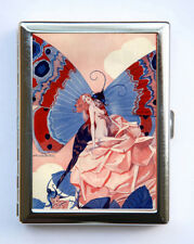 Cigarette Case id case Wallet  Art Deco Butterfly Pin Up