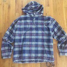 VTG J. Crew Men's Plaid Hooded Jacket Coat Cotton Sz Medium