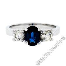 New 14K Gold 1.53ctw Oval Sapphire Round Diamond 3 Three Stone Engagement Ring