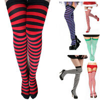 Hot Sale New Women's RAINBOW Stripe Over Knee Thigh High Stocking Socks colorful