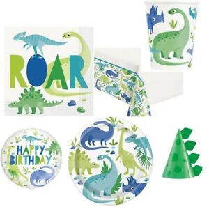 DINOSAUR Birthday Party Range - Blue and Green - Tableware Balloons Decorations
