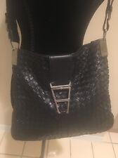 BOTTEGA VENETA Black Leather Woven Shoulder Hand bag Vintage