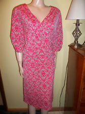 LANE BRYANT PLUS SIZE SHORT SLEEVE PINK WRAP DRESS 26/28 RETAIL $70 NWT