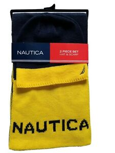 NAUTICA 2 Piece Set BEANIE HAT AND SCARF SET Navy Blue And Yellow NWT Spellout