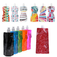 500/750mL 2L Portable Foldable Water Bottle Bag Outdoor Camping Hiking Supplies