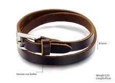 Men's Genuine Leather Bracelet, wrist strap, belt, brown leather