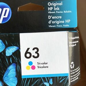 HP 63 Tri-color Original Ink Cartridge F6U61AN #140 Sealed Box Exp 05- 2022