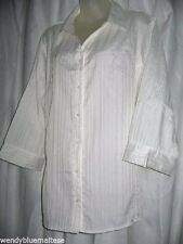 White Millers 20 Blouse 3/4 Sleeves Pintucks Throughout Fabric Button Front