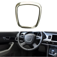 Silver Trapezoid Steering Wheel Sticker Aluminum Body Emblem Fit For Audi A4 A6