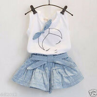 Cute Toddler Baby Kids Girls Bow Cotton Shirt +Grid Shorts Clothing Set Outfits