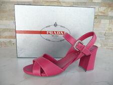 original PRADA Taille 35,5 Sandalettes Chaussures Cuir de veau rose vif neuf