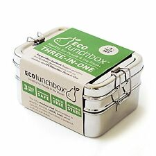 NEW ECOlunchbox Three in One Stainless Steel Food Container Set FREE SHIPPING