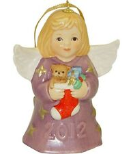 Goebel Angel Bell 2012 NIB Purple Dress Angel Holding Stocking 107301 NEW BOX