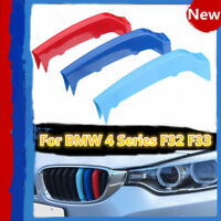 3x M-Colored Grill Grille Strip Cover Trim Clips For BMW 4 Series F32 F33 14-17