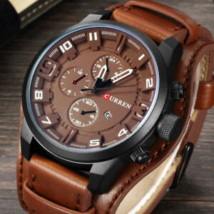 Curren Army Military Quartz Mens Watches Luxury Leather Watch Sport Wrist Watch
