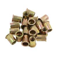 20 Pcs M12 Tono de bronce carbon ACERO Hilo Plano Cabeza Remachar tuerca Nueces