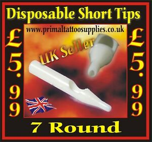 Disposable Short Tips 7 Round - Box of 50  - (Tattoo Needles - Tattoo Supplies)